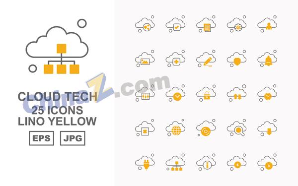 云技术矢量橙黄色图标