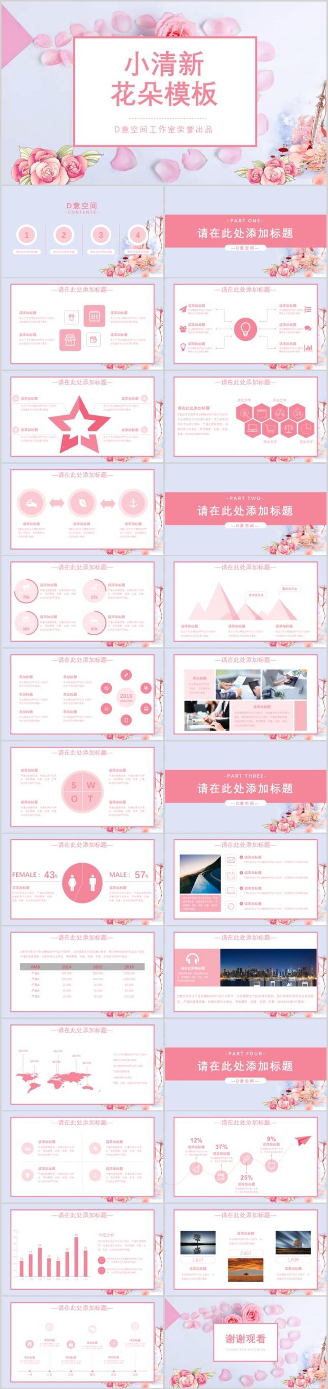 粉色淡雅小清新花朵PPT模板