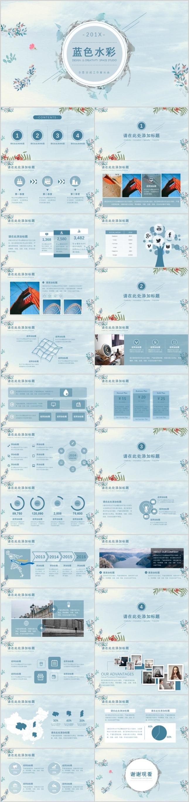 蓝色水彩文艺范PPT模板