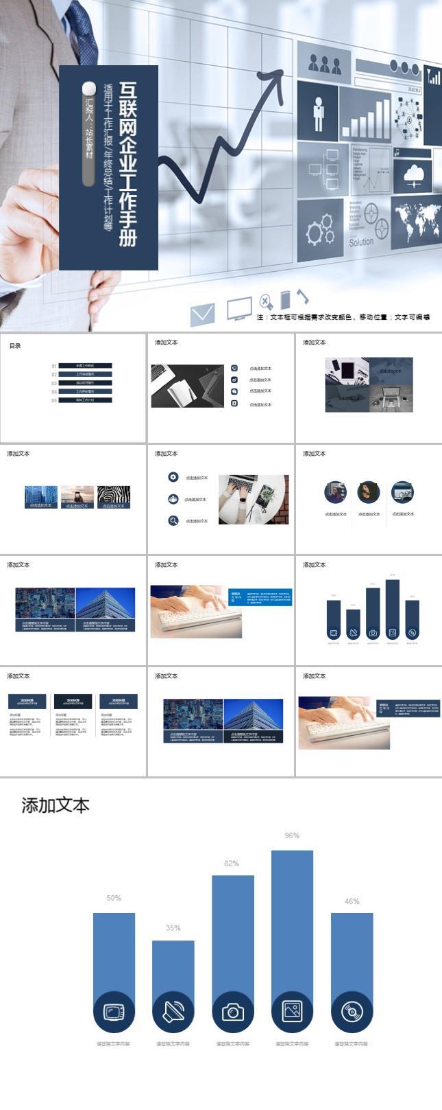 互联网企业工作手册PPT模板