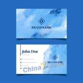 蓝色水彩装饰名片设计