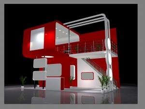 紅色展廳3D模型效果圖