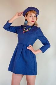 寶藍色連衣裙美女寫真圖片