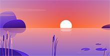 CSS3卡通湖面上日出动画特效