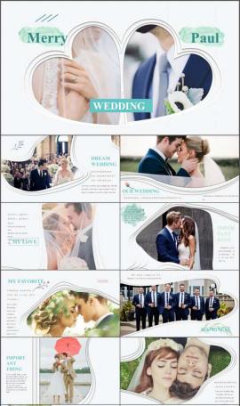歐美范婚禮開場電子相冊PPT模板
