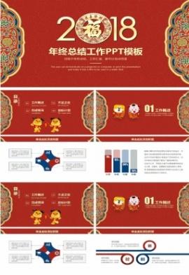 喜慶中國風年終總結匯報PPT模板