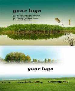 環保綠色風景名片PSD模板