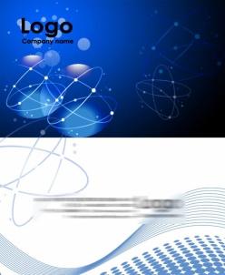 藍色背景科技名片psd模板
