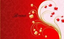 紅色婚慶名片psd設計素材