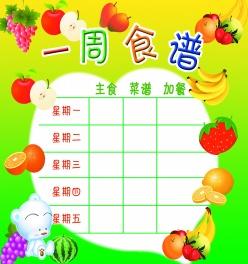 學校一周食譜菜單表格ps素材