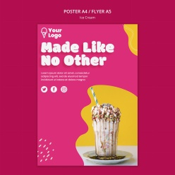 冰淇淋美食宣傳單設計PSD