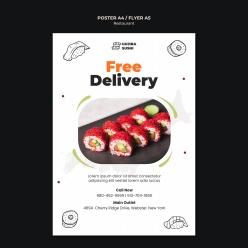 美味壽司PSD食物宣傳單