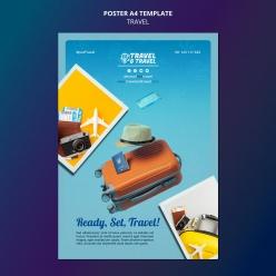 環球旅行海報模板源文件