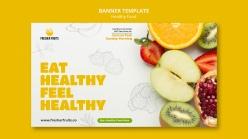 新鮮水果促銷橫幅模板